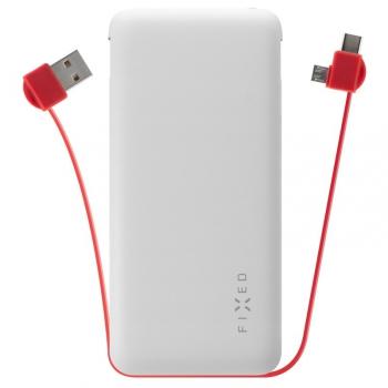 Powerbank FIXED Zen 10 000mAh, s kabelem USB/Micro USB, USB-C bílá