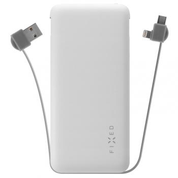 Powerbank FIXED Zen 10 000mAh, s kabelem USB/Lightning, USB-C bílá