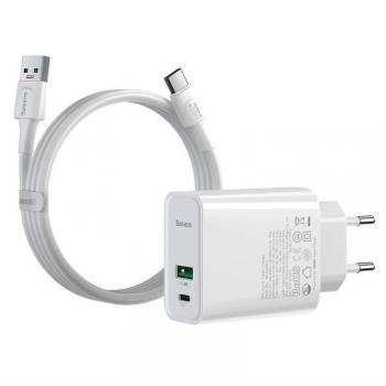 Nabíječka do sítě Baseus Speed PPS Quick Charger 30W + USB-C kabel 1m bílá