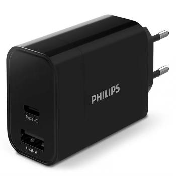 Nabíječka do sítě Philips 1x USB-C, 1x USB A černá