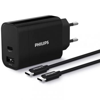 Nabíječka do sítě Philips 1x USB-C, 1x USB A + USB-C kabel 1m černá