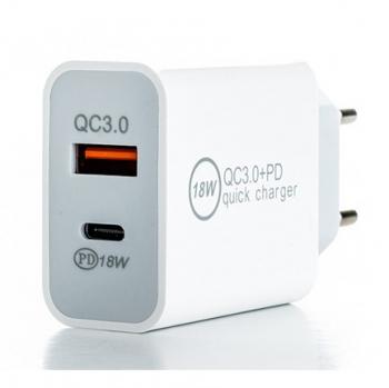 Nabíječka do sítě ER Power 18W USB-C PD, USB-A QC 3.0 bílá