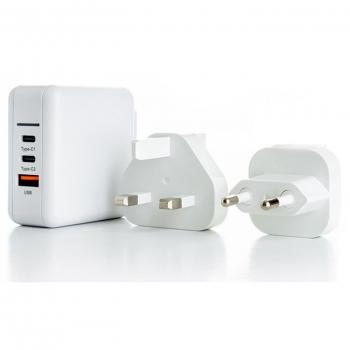 Nabíječka do sítě ER Power 65W GaN PD 2x USB-C, USB-A QC 3.0 bílá