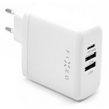 Nabíječka do sítě FIXED 2x USB, USB-C PD, 60W bílá