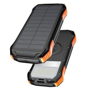 Powerbank Viking S12W, 12 000 mAh, bezdrátové nabíjení, outdoor černá/oranžová