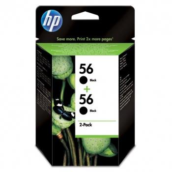 Inkoustová náplň HP No. 56, *19ml, 900 (2x450) stran,  2 pack - originální černá