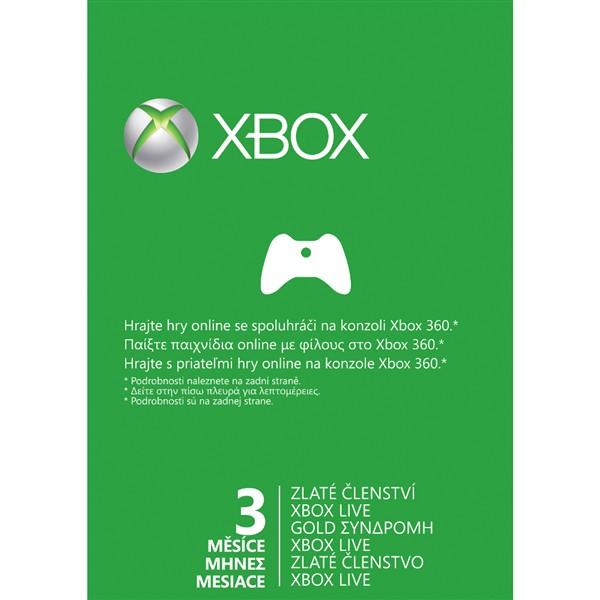 Karta Xbox Live.Predplacena Karta Microsoft Xbox Live Gold Zlate Clenstvi 3 Mesice