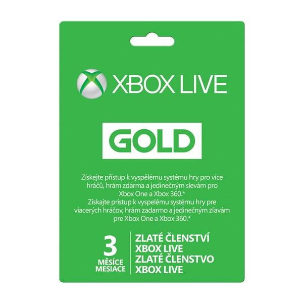 Predplacena Karta Microsoft Xbox Live Gold Zlate Clenstvi 3 Mesice
