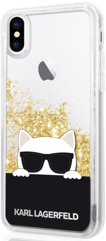 Kryt na mobil Karl Lagerfeld Choupette Sunglass pro iPhone X zlatý průhledný a4832e46745