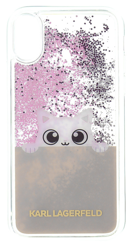 Kryt na mobil Karl Lagerfeld Peek and Boo Case Glitter pro iPhone X  růžový průhledný 4f78cb69756