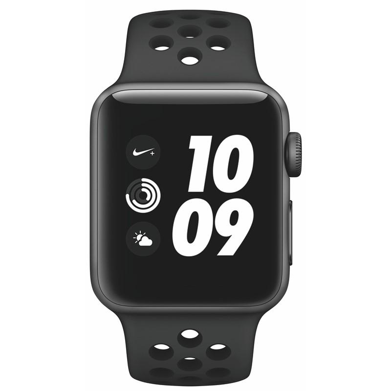 Chytré hodinky Apple Watch Nike+ Series 3 GPS 38mm pouzdro z vesmírně  šedého hliníku - antracitový černý sportovní řemínek Nike 3ddc807a38