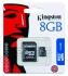 Paměťová karta Kingston MicroSDHC 8GB Class4 + adapter