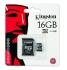 Paměťová karta Kingston MicroSDHC 16GB Class 4 + adapter