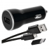 Adaptér do auta EMOS 1x USB, Micro USB kabel, USB-C redukce, 1m černý