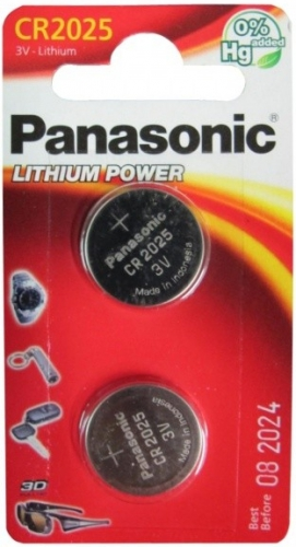 Baterie Panasonic CR2025 LITHI, 3V, 160mAh, CR2025/2BP