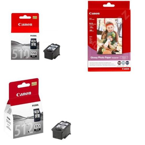 Set (Fotopapír Canon GP 501, foto 10x15 cm, 100 listů) + (Inkoustová náplň Canon PG-510Bk, 9ml - originální) + (Inkoustová náplň Canon PG-512Bk, 15ml - originální)