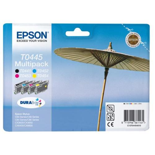 Epson T0445, 4x 8ml - originální černá/červená/modrá/žlutá