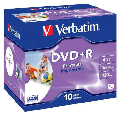 Verbatim DVD+R 4,7GB, 16x, printable, jewel box, 10ks