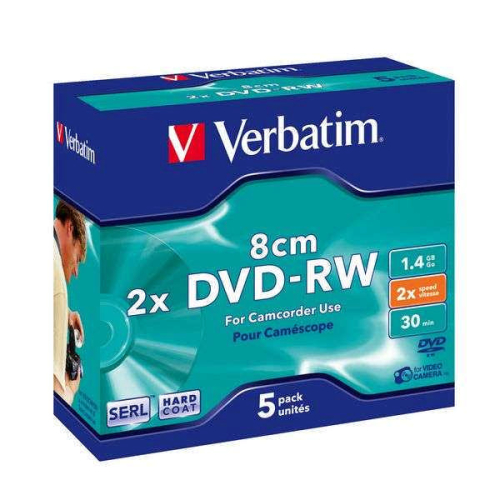 Verbatim DVD-RW 1.4GB, 2x, 8cm, jewel box, 5ks