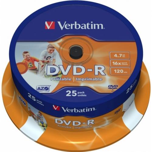 Verbatim DVD+R 4,7GB, 16x, printable, 25-cake