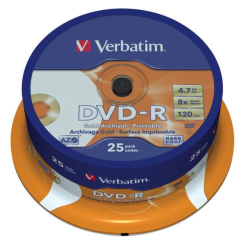 Verbatim DVD-R 4.7GB, 8x, printable, 25-cake
