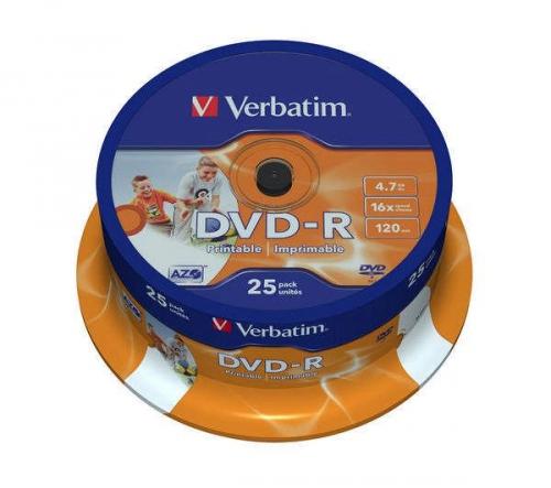 Verbatim Printable DVD-R 4.7GB, 16x, 25-cake