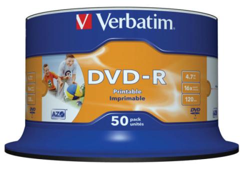 Verbatim DVD-R 4.7GB, 16x, printable, 50-cake