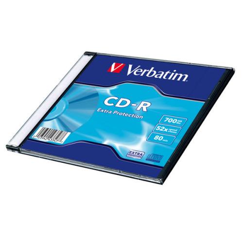 Verbatim CD-R 700MB/80min, 52x, Extra Protection, slim, 200ks