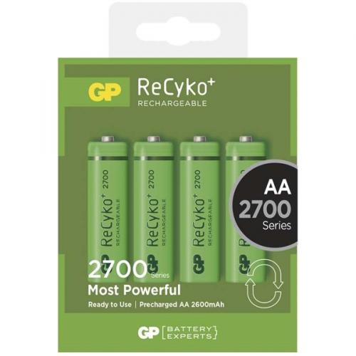 GP ReCyko+ AA, HR6, 2700mAh, Ni-MH, krabička 4ks zelená