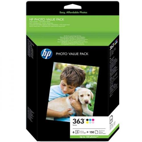 HP No. 363, foto pack, 150 stran - originální černá/šedá/červená/modrá/žlutá/zelená