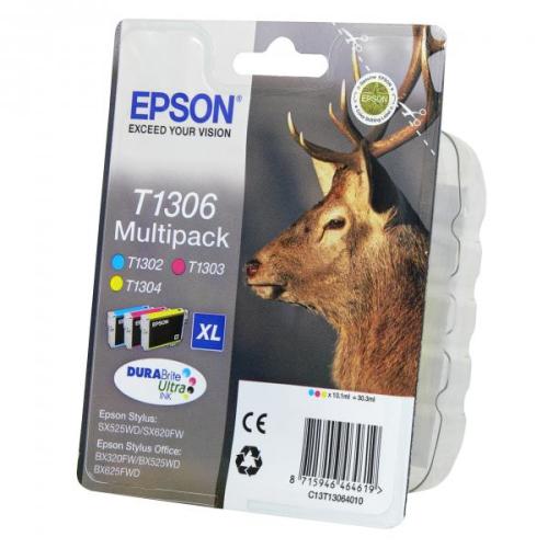 Epson T1306, 3x10ml - originální červená/modrá/žlutá