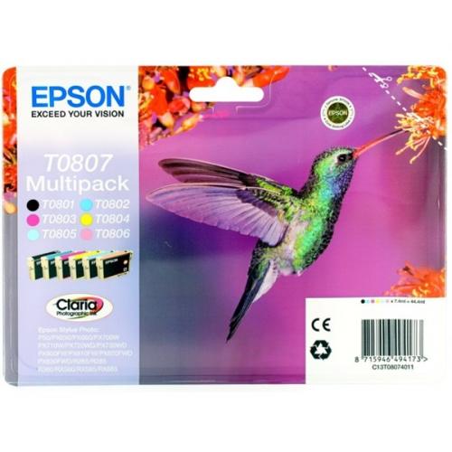 Epson T0807 - originální černá/červená/modrá/žlutá
