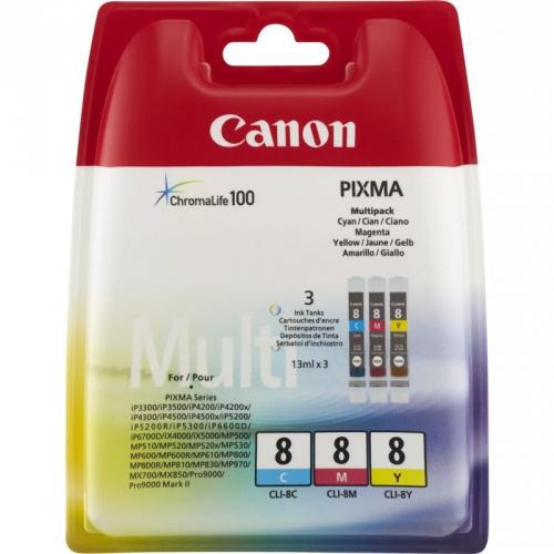 Canon CLI-8 CMY, 420 stran - originální červený/modrý/žlutý