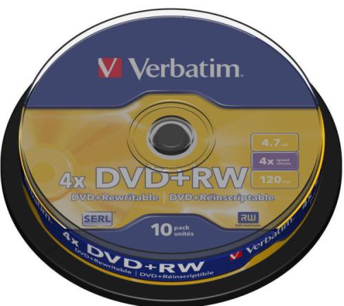 Verbatim DVD+RW 4.7GB, 4x, 10-cake