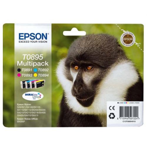 Epson T0895, 5,8ml - originální černá/červená/modrá/žlutá
