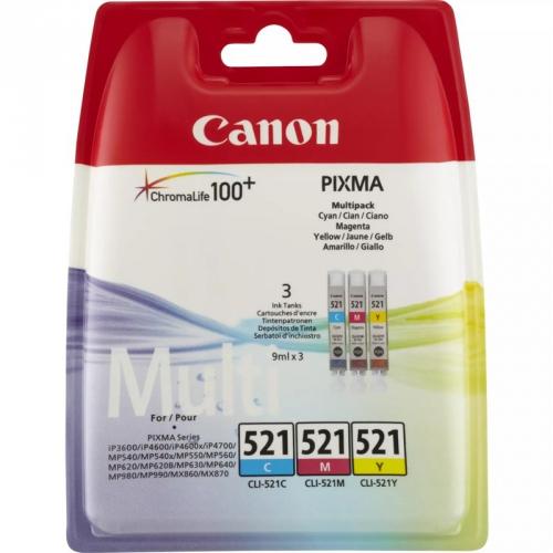Canon CLI-521 C/M/Y - originální modrá/žlutá/růžová