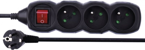 EMOS 3x zásuvka, 1,5m, vypínač
