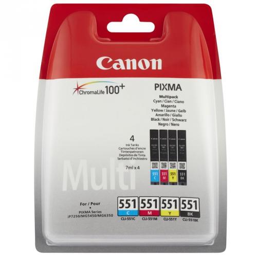 Canon CLI551, 4x 7ml - originální černá/červená/modrá/žlutá