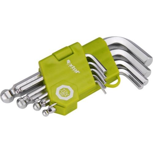 EXTOL CRAFT 66000, L-klíče, krátké, 9 ks ocel