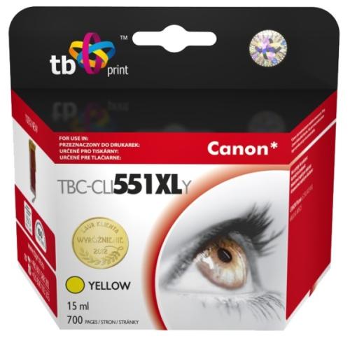 Fotografie Inkoustová náplň TB Canon CLI-551XL kompatibilní - žlutá