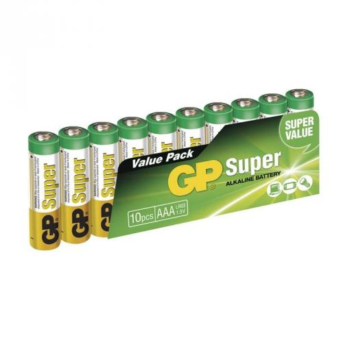 Baterie alkalická GP Super AAA, LR03, fólie 10ks