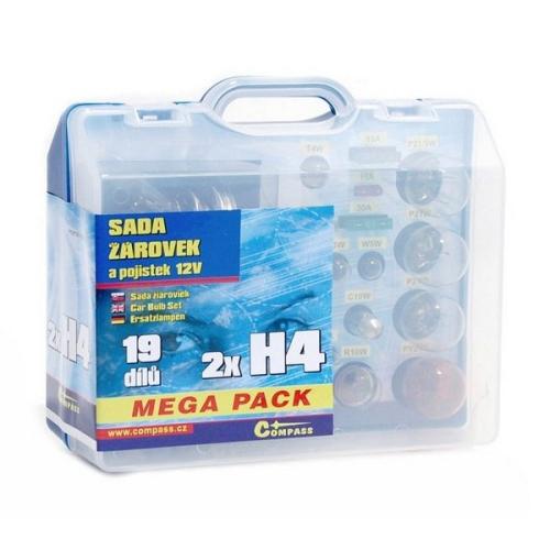 Autožárovka Compass 12 V servisní box MEGA H4+H4+pojistky