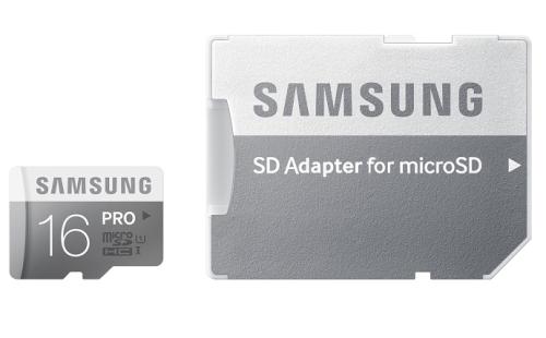 Samsung Micro SDHC PRO 16GB UHS-I U1 (90R/50W) + adapter