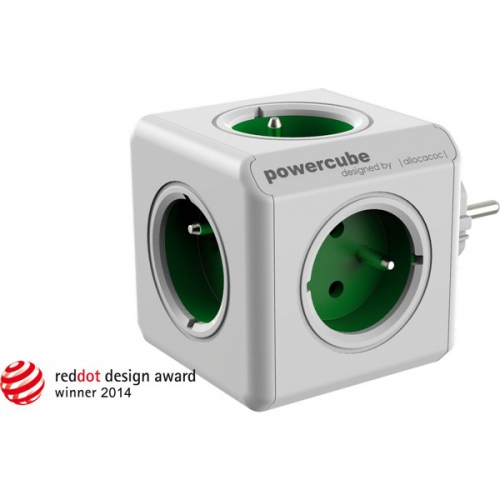 Powercube Original, 5x zásuvka bílá/zelená