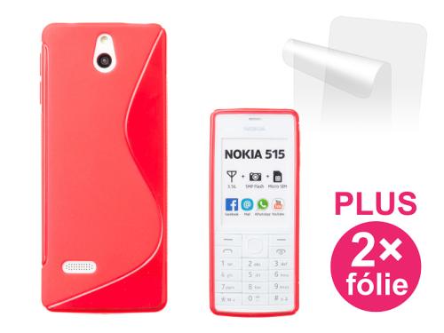 Connect IT pro Nokia 515 + 2ks ochranná fólie červený