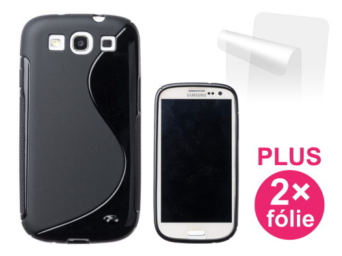 Connect IT pro Samsung Galaxy S3 (i9300) + 2ks ochranná fólie černý