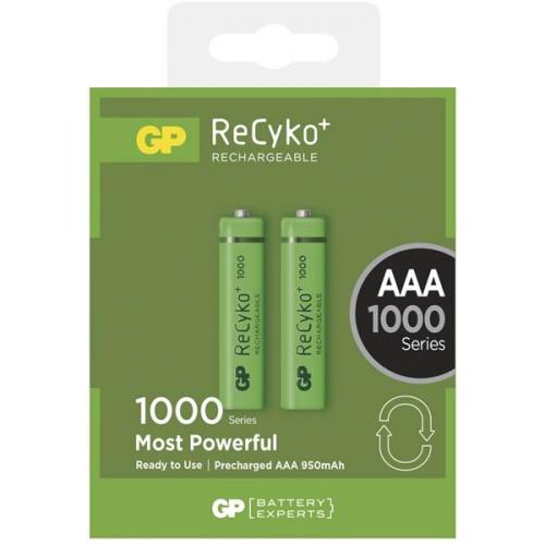 GP ReCyko+ AAA, HR03, 1000mAh, Ni-MH, krabička 2ks zelená