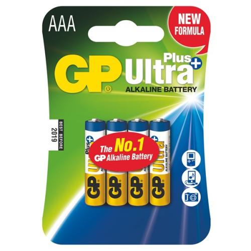 Baterie alkalická GP Ultra Plus AAA, LR03, blistr 4ks