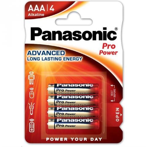 Fotografie Panasonic Pro Power Alkaline baterie R03/AAA, 4 ks, Blister