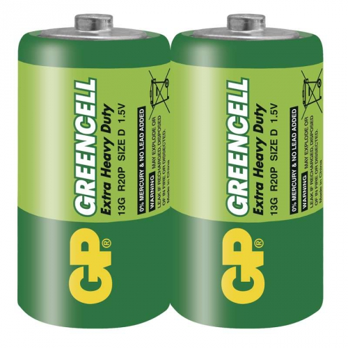 Fotografie Baterie zinkochloridová GP D, R20, fólie 2ks